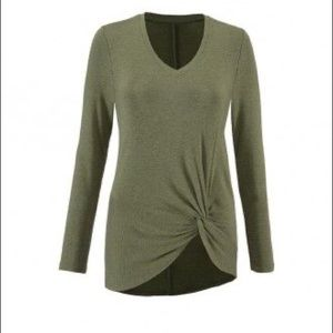 cAbi Reveal Tee #3263 Green V-Neck Jersey Top